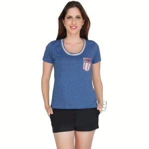 Meish Navy Blue Embroidered Cotton Blend Top For Women - Me40nblu