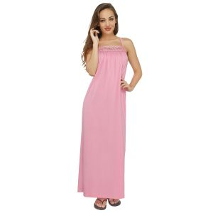 "Topshe Women""s Hosiery Pink Regular Fit Sleeveless Nighty (only L Size) (code - Ts526pnksl)"