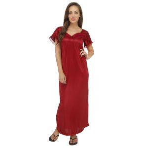 "Topshe Women""s Hosiery Red Regular Fit Sleeveless Nighty (only L Size) (code - Ts571redsl)"