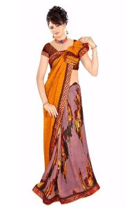 Naaidaakho Gorgeous Orange And Light Pink Printed Saree - (code - 13006)