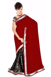 Naaidaakho Gorgeous Red And Black Printed Saree - (code - 13007)
