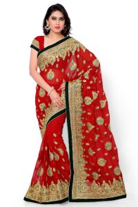 Naaidaakho Red Heavy Embroidered Saree - (code - 16_diya_101)