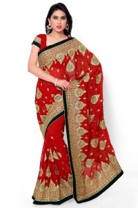 Naaidaakho Red Heavy Embroidered Saree - (code - 16_diya_103)