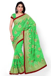 Naaidaakho Green Heavy Embroidered Saree - (code - 16_diya_104)