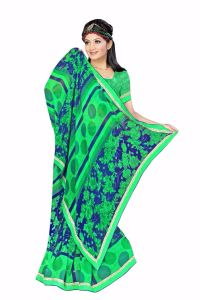 Naaidaakho Gorgeous Green And Blue Printed Saree - (code - 25001)