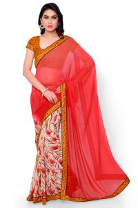 Naaidaakho Peach And Off White Printed Saree - (code - 2nidk01)