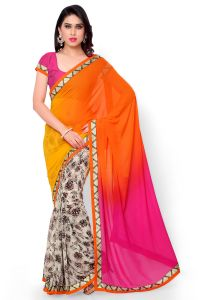 Women's Clothing - Naaidaakho White And Multicolour Printed Saree - (Code - 2NIDK06)