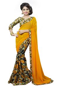 Naaidaakho Orange And Multicolour Printed Lace Border Saree - (code - 3nidk02)