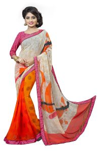 Naaidaakho White And Orange Printed Lace Border Saree - (code - 3nidk03)