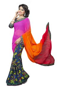 Naaidaakho Orange And Navy Blue Printed Lace Border Saree - (code - 3nidk06)