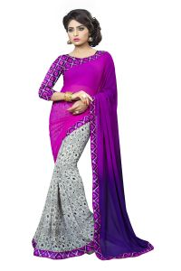 Naaidaakho Purple And Gray Printed Lace Border Saree - (code - 3nidk07)