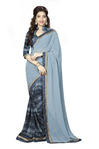 Naaidaakho Gray Printed Lace Border Saree - (code - 3nidk09)