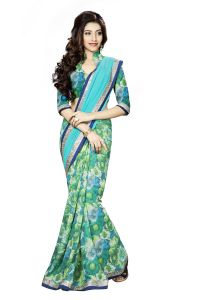 Naaidaakho Green And Sea Blue Printed Lace Border Saree - (code - 3nidk10)