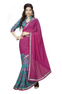 Naaidaakho Maroon And Sea Blue Printed Lace Border Saree - (code - 3nidk11)
