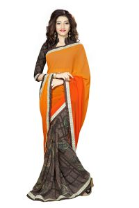 Naaidaakho Orange And Brown Printed Lace Border Saree - (code - 3nidk12)