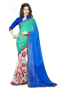 Naaidaakho Blue And White Printed Lace Border Saree - (code - 3nidk13)
