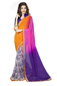 Naaidaakho Beautiful Multicolour Printed Lace Border Saree - (code - 3nidk14)