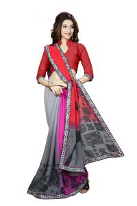 Naaidaakho Adorable Multicolour Printed Lace Border Saree - (code - 3nidk15)