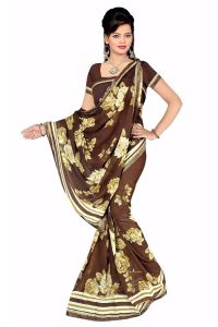 Naaidaakho Gorgeous Brown And Faux Printed Saree - (code - 6004)