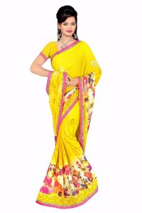 Naaidaakho Gorgeous Yellow Printed Saree - (code - 6006)