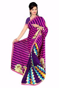 Naaidaakho Gorgeous Blue And Pink Printed Saree - (code - 6008)
