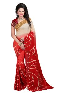 Naaidaakho Red And White Printed Saree - (code - Krv_102)