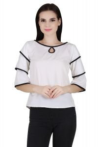 Tops & Tunics - Jollify White colour fashionable Women's Top(product code-3aastinwhite-)