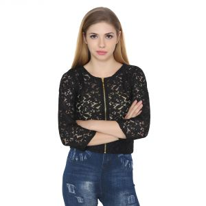 Jollify Womens Black Cotton Net Embroidered Top (product Code - Croptopblack-)
