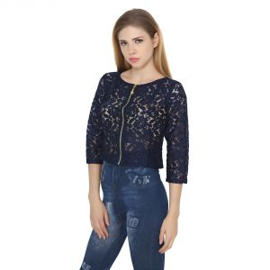 Tops & Tunics - Jollify Womens Blue cotton Net Embroidered Top (Product Code - croptopblue-)