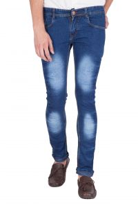 Jollify Dark Blue Cotton Blend Mens Jeans(j529darkblue)