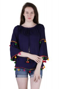 Tops & Tunics - Jollify Women's Blue Rayon Embroidered Top(Ktiptopoblue)