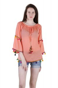 Tops & Tunics - Jollify Women's orange Rayon Embroidered Top(Ktiptoporg-)