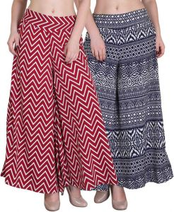 "Palazzo pants - Jollify Maroon and Black Women""s Plazzo packup2(pz002maronpz09blkwht)"