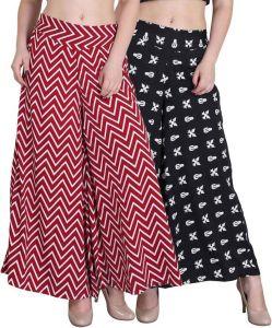 Women's Clothing ,Womens Footwear ,Women's Accessories  - Jollify Regular Fit Women's Maroon and Black Plazzo(pz002maronpz01blk)