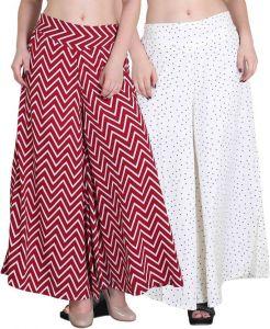 Palazzo pants - Jollify Regular Fit Women's Maroon and white Plazzo (packup2)(pz002redPz06white)