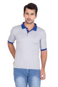 T Shirts (Men's) - Jollify Men's Polo Collar Grey T-Shirt(Product Code -TSCONTRASTGREY_ )