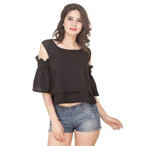 Jollify Women's Black American Crepe Cut Shoulder Top(Product Code - Cutshoulderblack-)