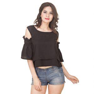 4a728b9240a03 Buy Jollify Women s Black Pom Pom Bell Sleeve Rayon Top(product Code ...