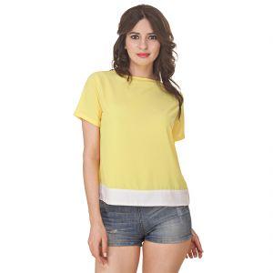 Jollify Women's Yellow Georgette Top(Product Code - Ysyellowwhiteplaintop-)