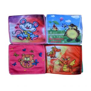 Streachable Cartoon Hand Towels 8x8 Set Of 12pcs