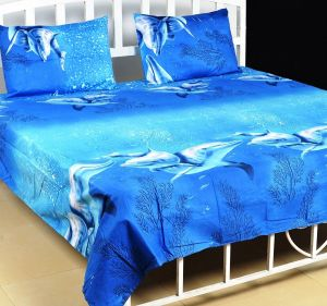 Home Decor & Furnishing - Trendz Exclucive 5d Cotton Double Bedsheet With 2 Pillow Covers - (code -vi1907)
