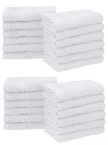 Towels - Milap Plain White Cotton Face Towel Set Of 24