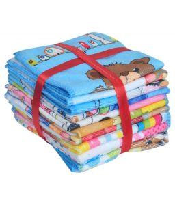 Baby bath towels - Milap Multocolor Cotton Baby Face Towel Set of 12 Pcs