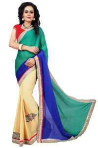 Designer Sarees - AAR VEE Multi Colour Embriodered Faux Georgette Saree with Unstitched Blouse RV108