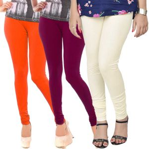 Vivan Creation Women Stylish Colorful Comfortable 3 PC Cotton Churidaar Leggings Set (product Code - Dl5comb715)