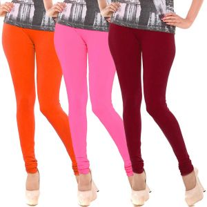 Vivan Creation Women Stylish Colorful Comfortable 3 PC Cotton Churidaar Leggings Set (product Code - Dl5comb719)