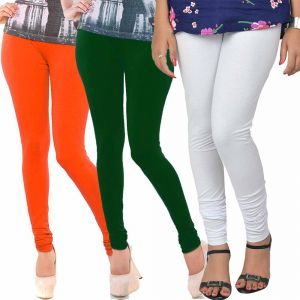Vivan Creation Women Stylish Colorful Comfortable 3 PC Cotton Churidaar Leggings Set (product Code - Dl5comb720)