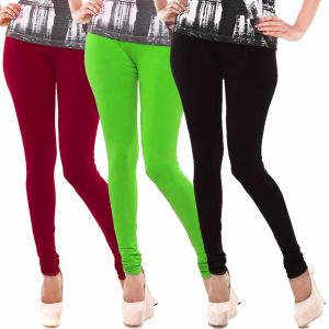 Vivan Creation Women Stylish Colorful Comfortable 3 PC Cotton Churidaar Leggings Set (product Code - Dl5comb721)