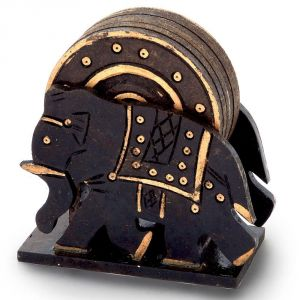Tableware - Vivan Creation Elephant Design Wooden Tea Coaster Handicraft -110