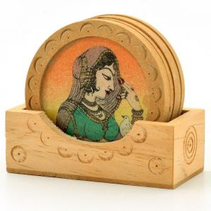 Vivan Creation Gemstone Painting Wooden Tea Coasters Gift -111